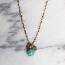 Collier AMULETTE Amazonite bleu lagon