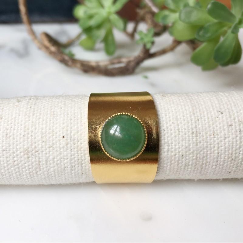 Bague OLIE Aventurine vert pâle